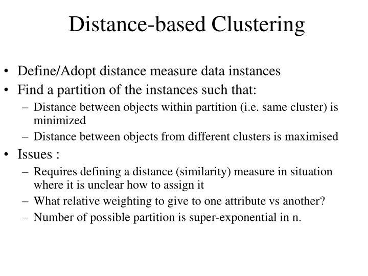 Define/Adopt distance measure data instances