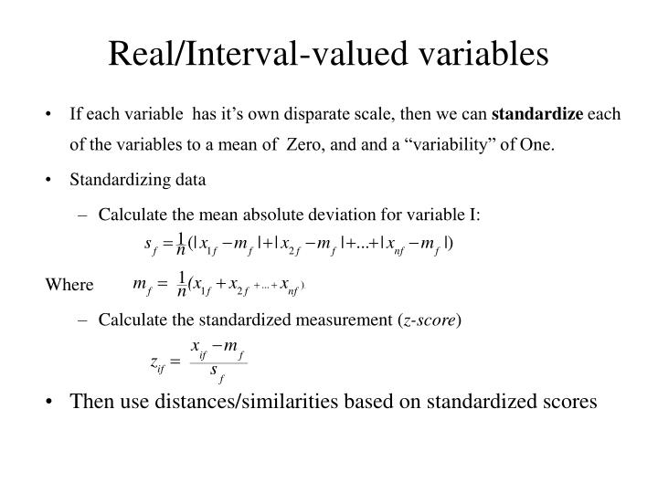Real/Interval-valued variables