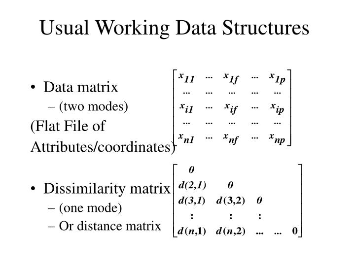 Usual working data structures
