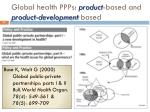 global health ppps product based and product development based