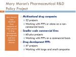 mary moran s pharmaceutical r d policy project1