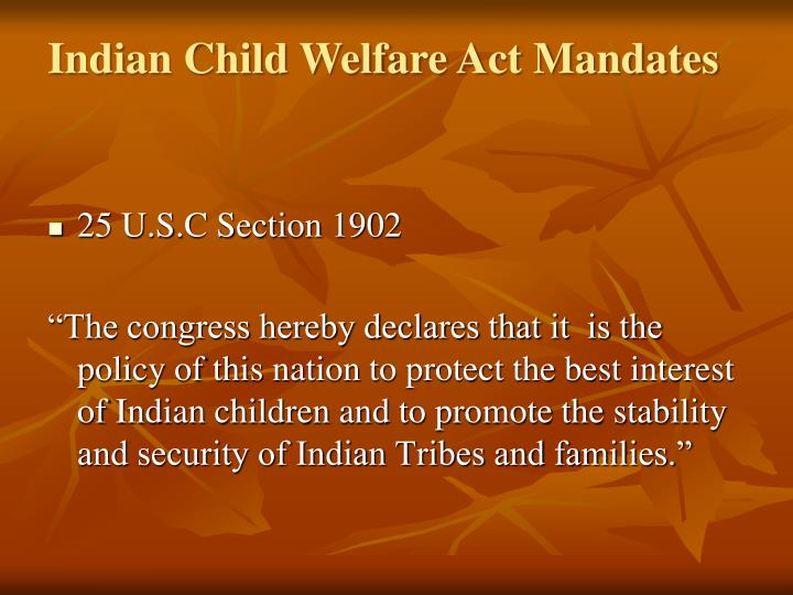 Indian Child Welfare Act Mandates
