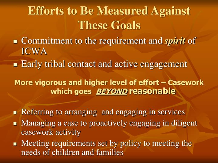 Efforts to Be Measured Against These Goals