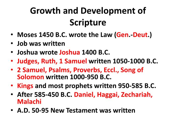 Growth and Development of Scripture