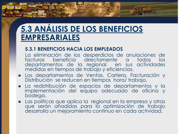 5.3 ANÁLISIS DE LOS BENEFICIOS EMPRESARIALES