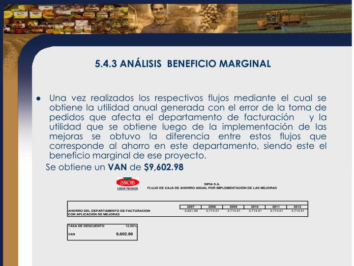 5.4.3 ANÁLISIS  BENEFICIO MARGINAL