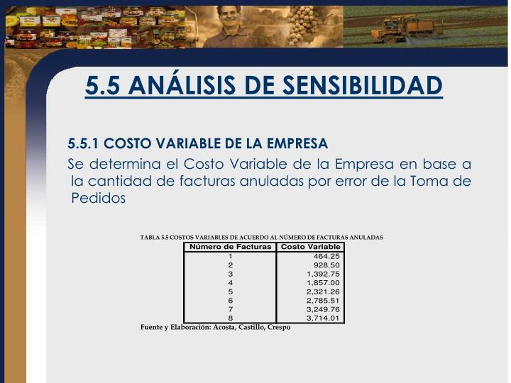 5.5 ANÁLISIS DE SENSIBILIDAD