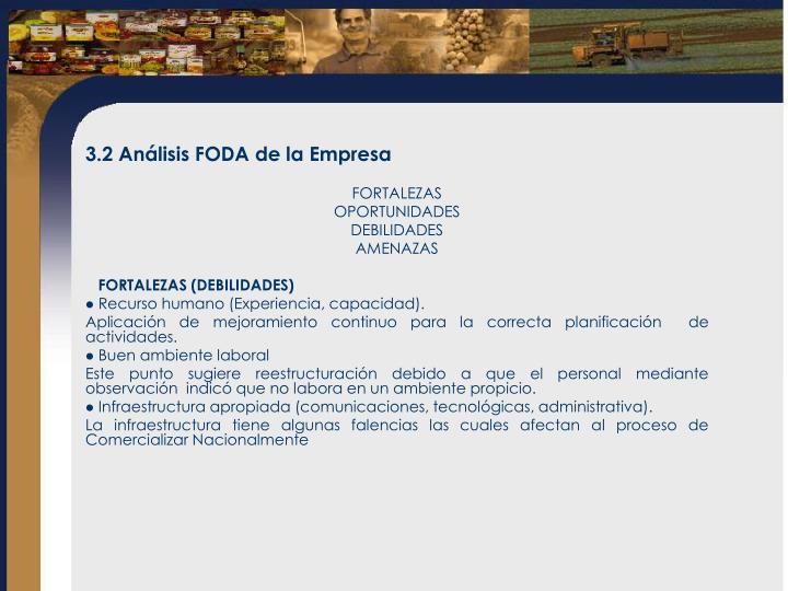 3.2Análisis FODA de la Empresa