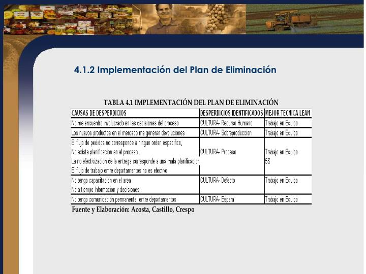 4.1.2 Implementación del Plan de Eliminación