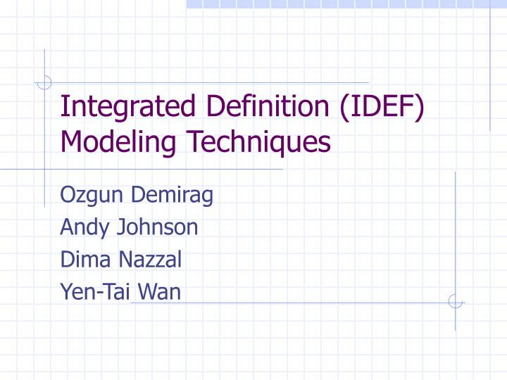 integrated definition idef modeling techniques n.
