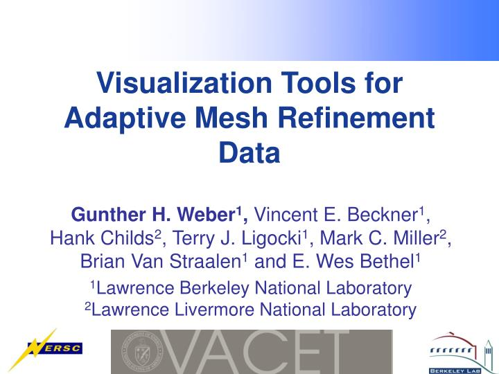 visualization tools for adaptive mesh refinement data n.