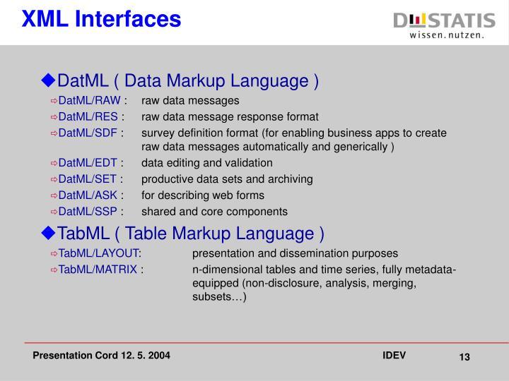 XML Interfaces