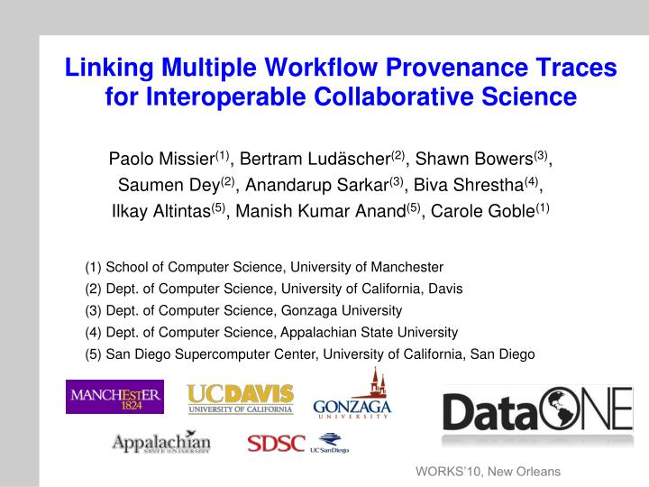 linking multiple workflow provenance traces for interoperable collaborative science n.