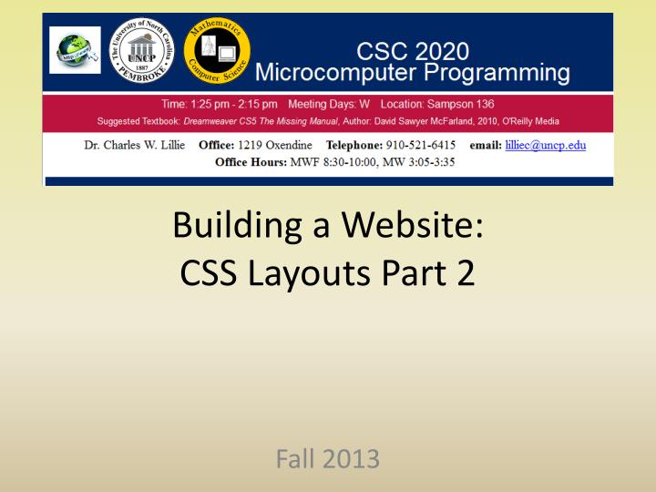 building a website css layouts part 2 n.