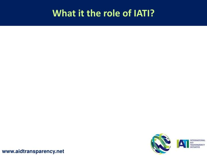 What it the role of IATI?