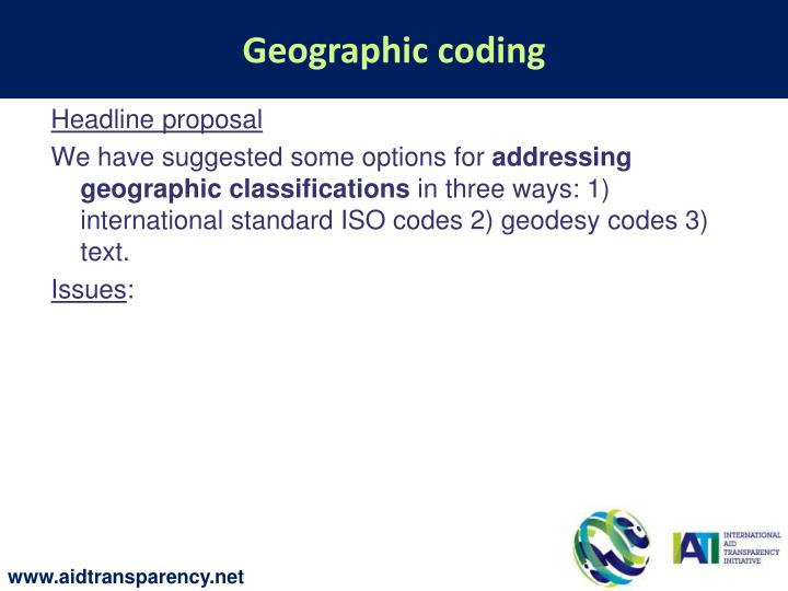 Geographic coding