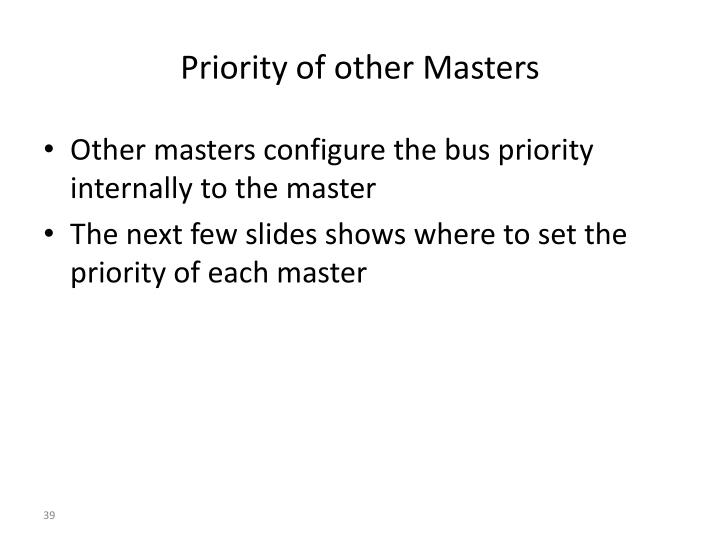 Priority of other Masters