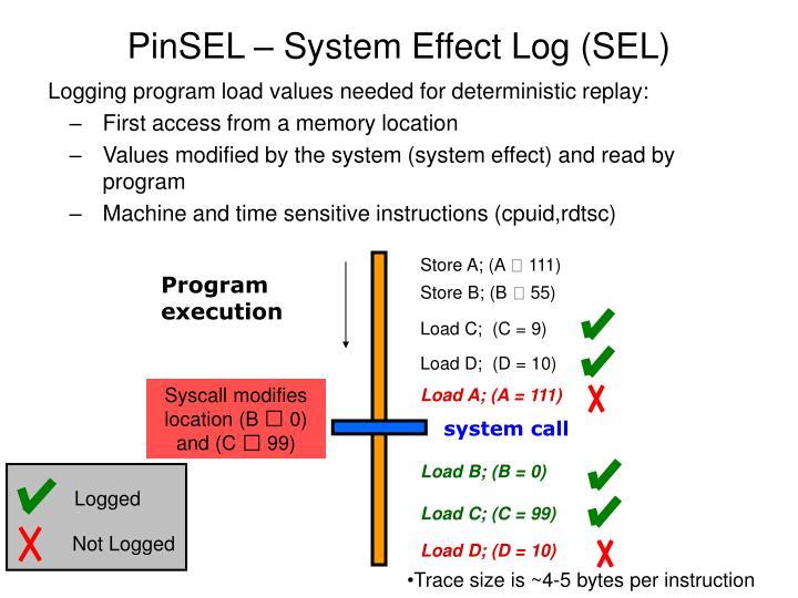 PinSEL – System Effect Log (SEL)