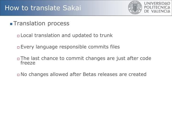 How to translate Sakai