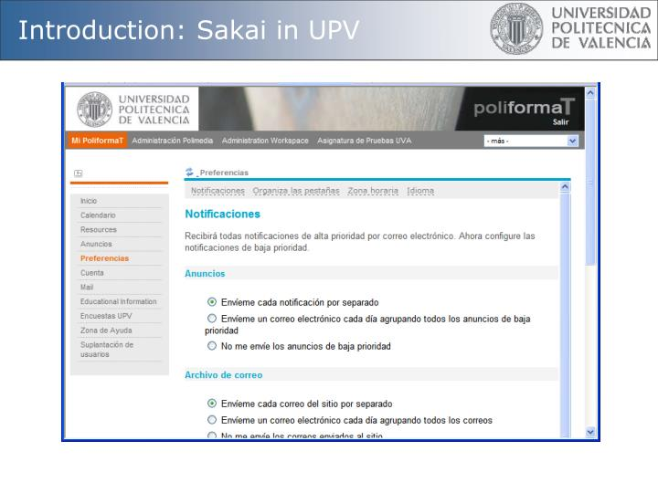 Introduction: Sakai in UPV