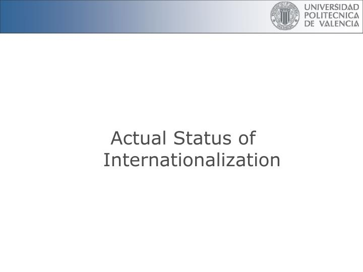 Actual Status of Internationalization