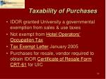 taxability of purchases