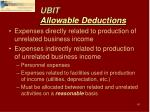 ubit allowable deductions