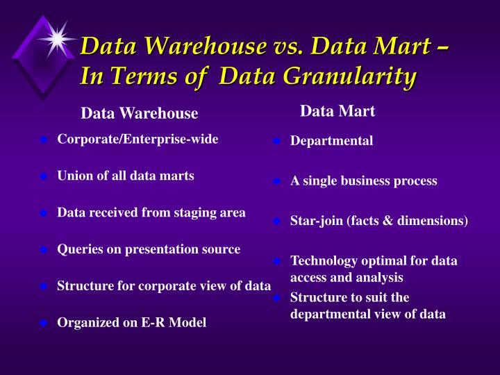 Data Warehouse vs. Data Mart –In Terms of  Data Granularity