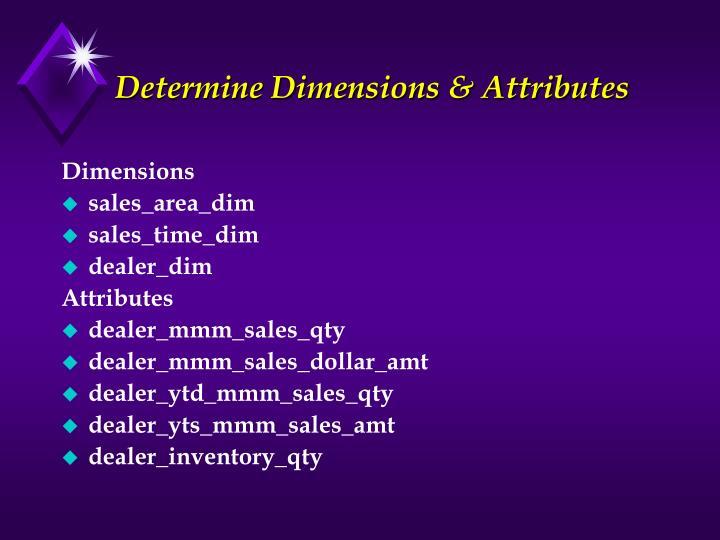 Determine Dimensions & Attributes