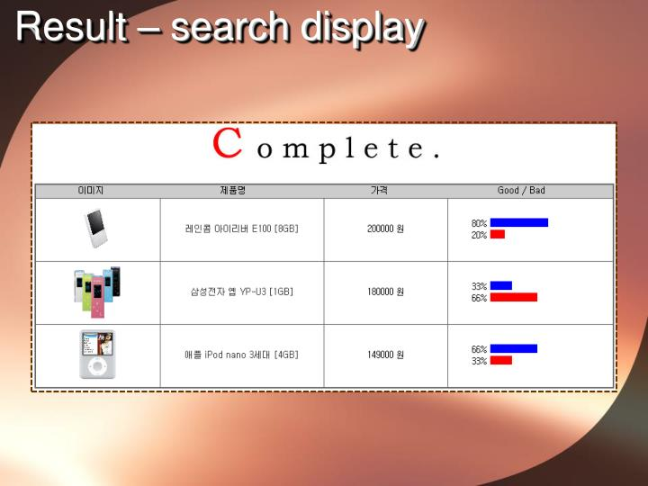 Result – search display