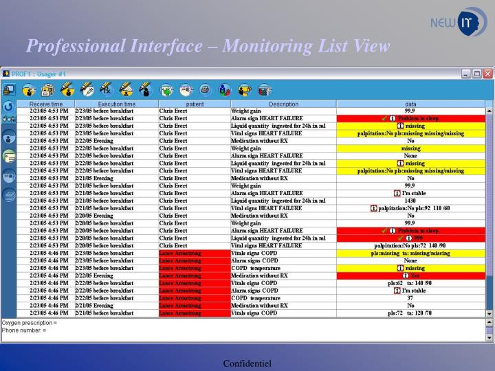 professional interface monitoring list view n.