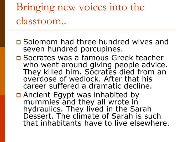 Bringing new voices into the classroom..