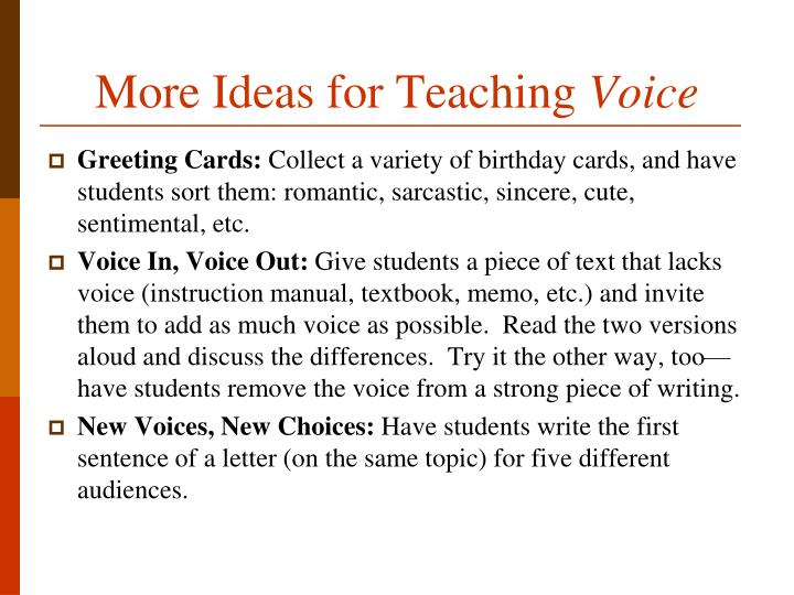 More Ideas for Teaching