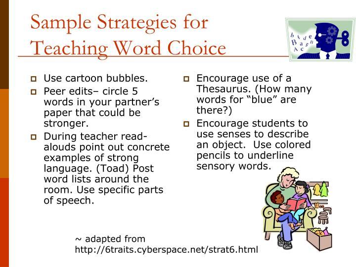 Sample Strategies for Teaching Word Choice