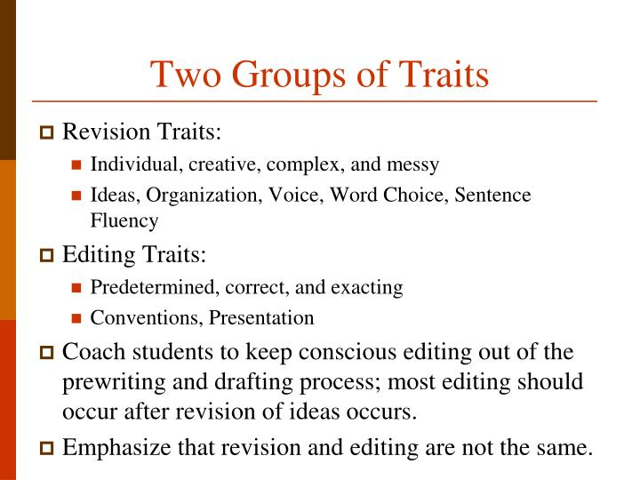 Two Groups of Traits