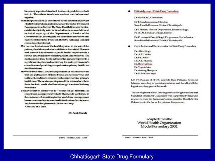 Chhattisgarh State Drug Formulary