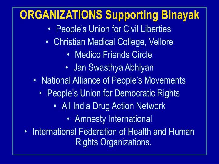 ORGANIZATIONS Supporting Binayak