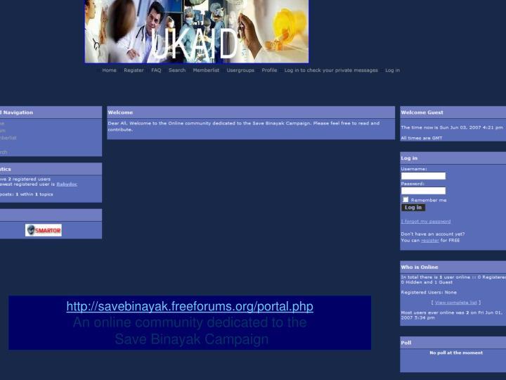 http://savebinayak.freeforums.org/portal.php