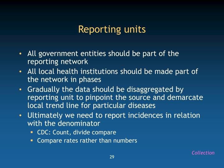 Reporting units