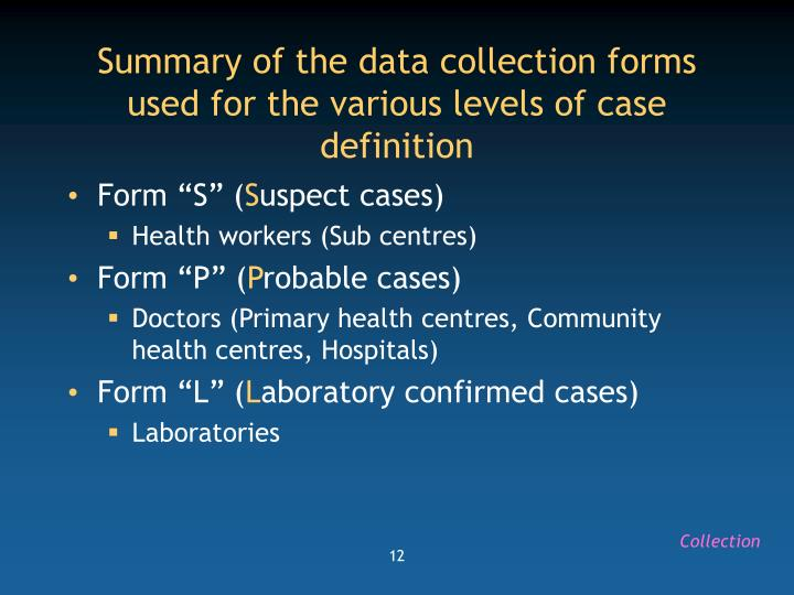 Summary of the data collection forms used for the various levels of case definition