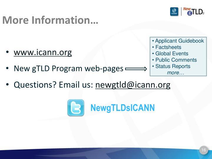 More Information…