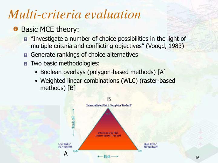 Multi-criteria evaluation