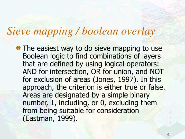 Sieve mapping / boolean overlay
