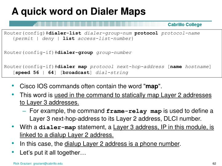 A quick word on Dialer Maps