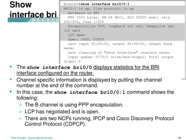 Show interface bri