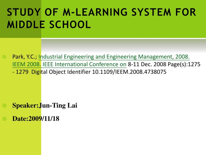 study of m learning system for middle school n.