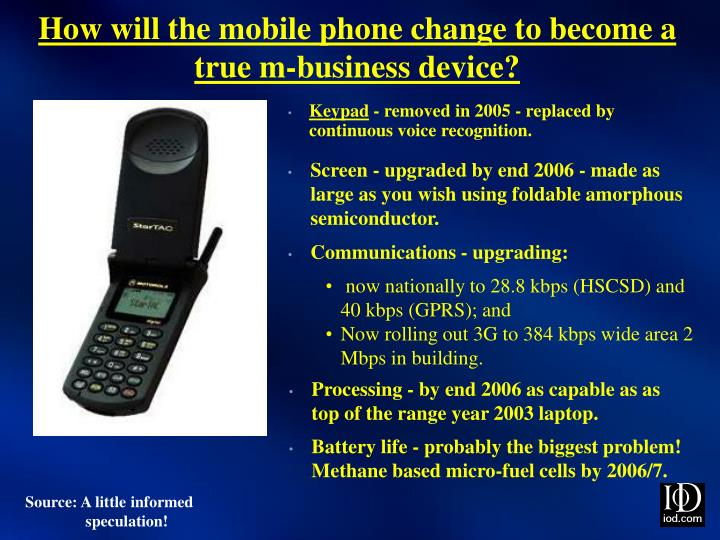 How will the mobile phone change to become a true m-business device?
