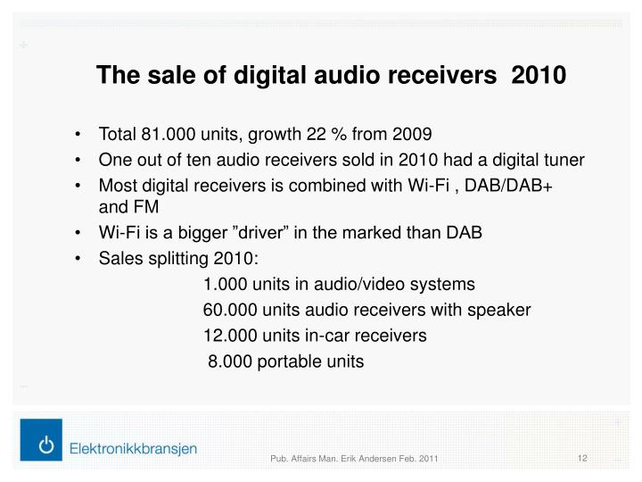 The sale of digital audio receivers  2010