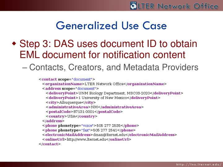 Generalized Use Case