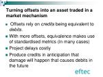 turning offsets into an asset traded in a market mechanism